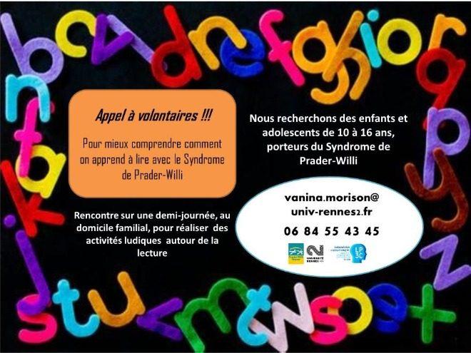 Appel pour terminer l'étude sur la lecture avec le syndrome de Prader-Willi