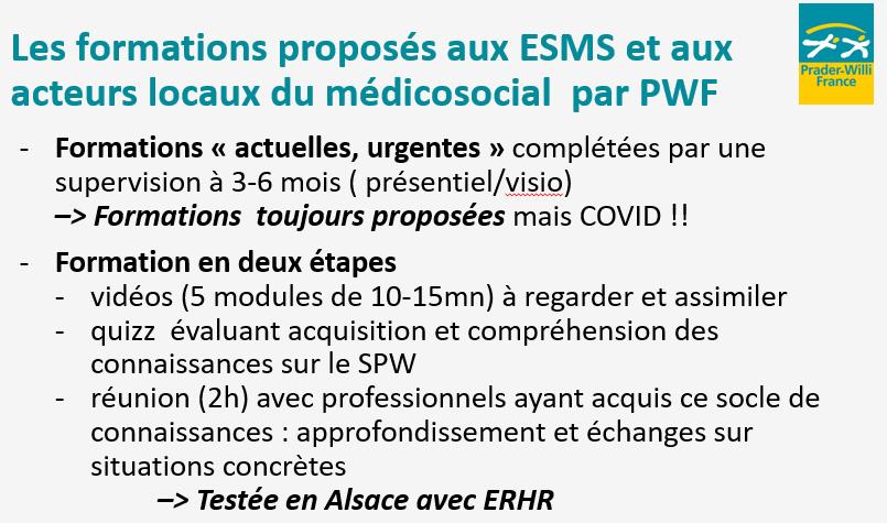 Evolution de l'offre de formation au syndrome de Prader-Willi pour les ESMS