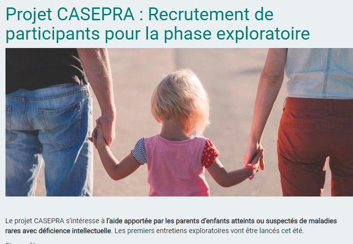 Appel à contribution au projet CASEPRA (aide des parents d'un jeune enfant avec une maladie rare)