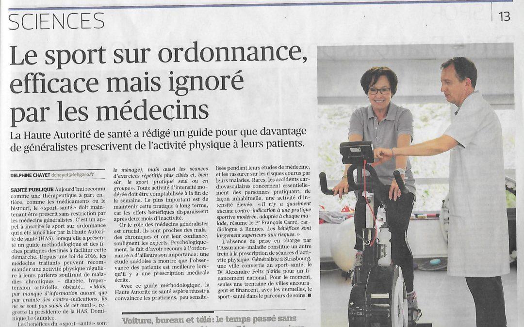 Vu dans le Figaro : Le sport sur ordonnance efficace mais ignoré des médecins