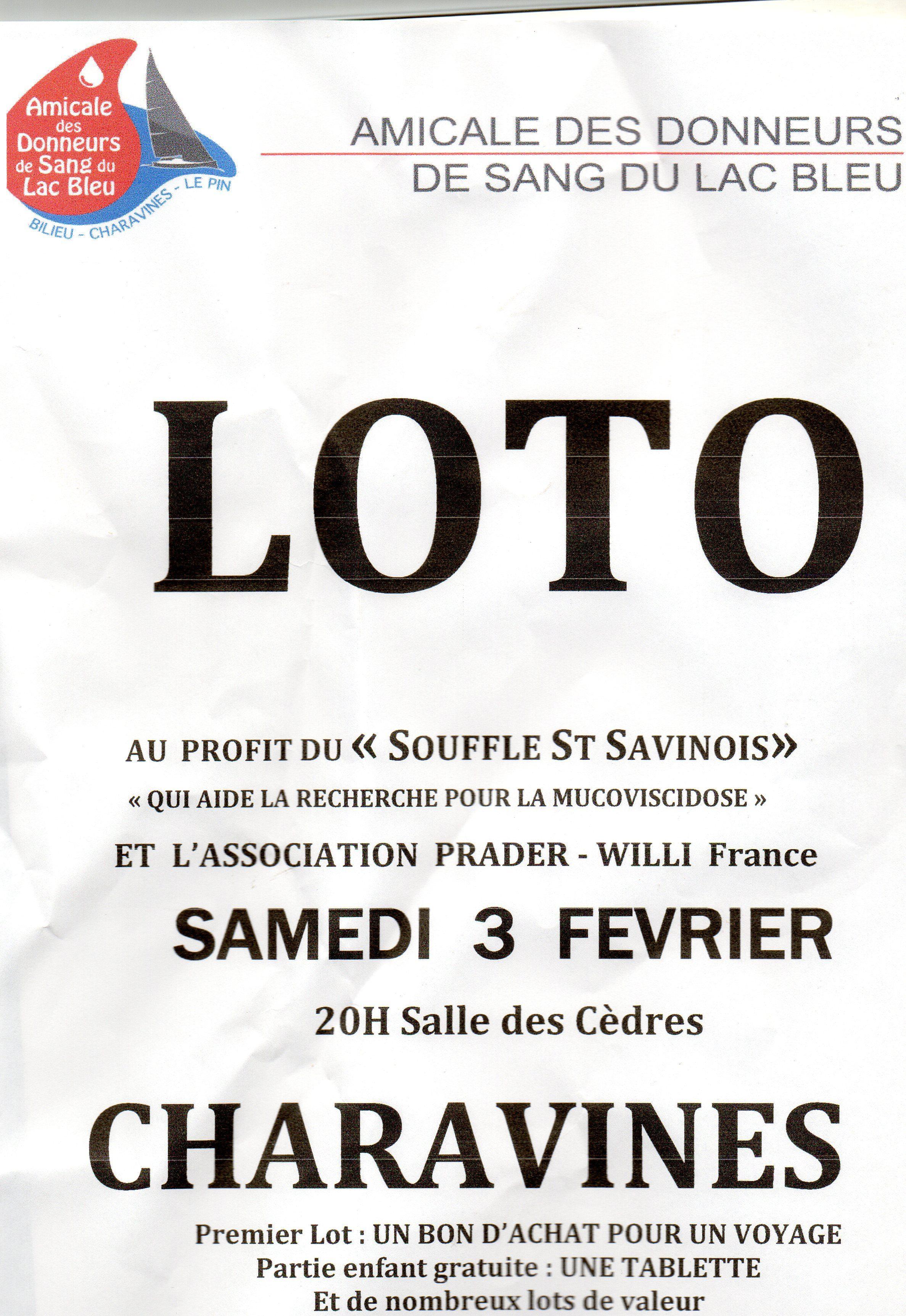 Loto à Charavines (38) le 3 février 2018 au profit de l'association Prader-Willi