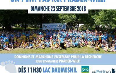 A Paris, save the date : 23 septembre 2018 Marche « Un PETIT Pas pour Prader-Willi »