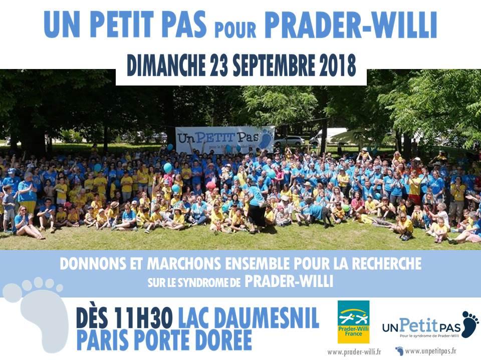 A Paris, save the date : 23 septembre 2018 Marche «Un PETIT Pas pour Prader-Willi»